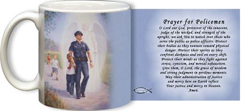 The Protector: Police Guardian Angel Mug with Prayer for Policemen