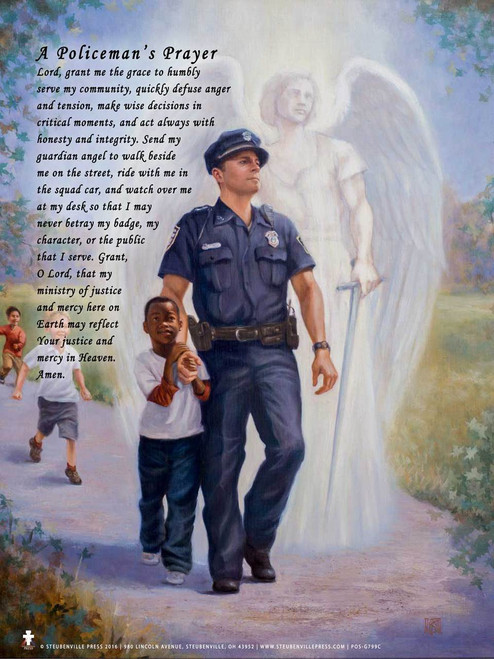 """The Protector: Police Guardian Angel *Special Edition* 13""""x19"""" Poster with Policeman's Prayer"""