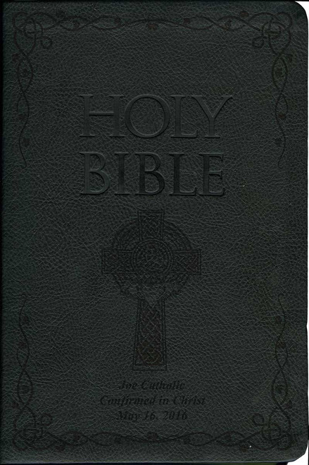 Laser Embossed Catholic Bible with Celtic Cover - Black NABRE