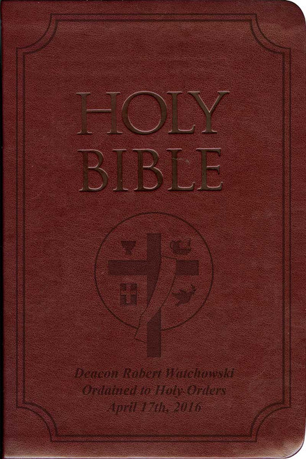 Laser Embossed Catholic Bible with Deacon Cover - Burgundy NABRE