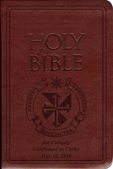 Laser Embossed Catholic Bible with Dominican Cover - Burgundy NABRE