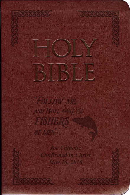 Laser Embossed Catholic Bible with Fishing Cover - Burgundy NABRE