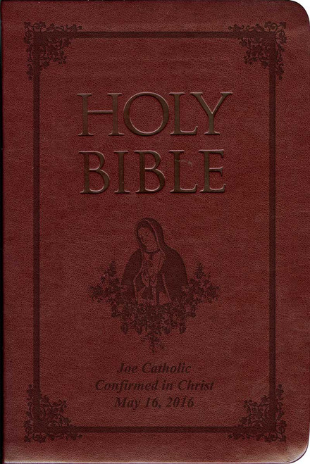 Laser Embossed Catholic Bible with Our Lady of Guadalupe Cover - Burgundy NABRE