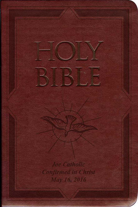 Laser Embossed Catholic Bible with Holy Spirit Cover - Burgundy NABRE