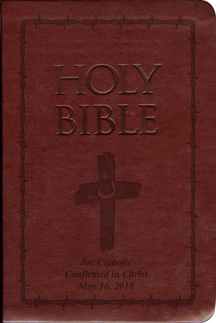 Laser Embossed Catholic Bible with Orange Cross Cover - Burgundy NABRE