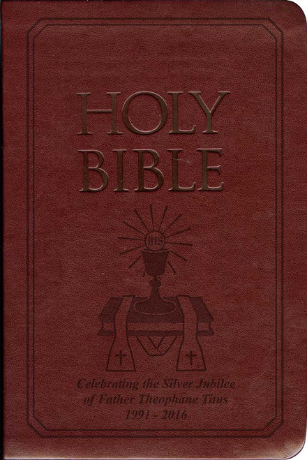 Laser Embossed Catholic Bible with Priest Cover - Burgundy NABRE