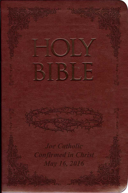 Laser Embossed Catholic Bible with Crown of Thorns Cover - Burgundy NABRE