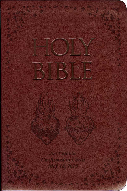 Laser Embossed Catholic Bible with Sacred and Immaculate Hearts Cover - Burgundy NABRE