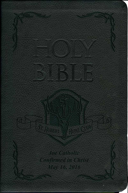 Laser Embossed Catholic Bible with St. Hubert Hunt Club Cover - Black NABRE