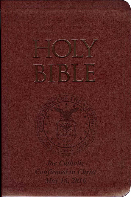 Laser Embossed Catholic Bible with Air Force Cover - Burgundy NABRE