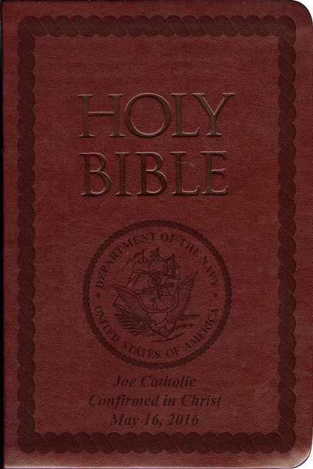 Laser Embossed Catholic Bible with Navy Cover - Burgundy NABRE