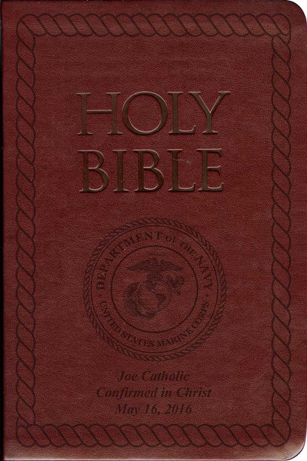 Laser Embossed Catholic Bible with Marine Cover - Burgundy NABRE