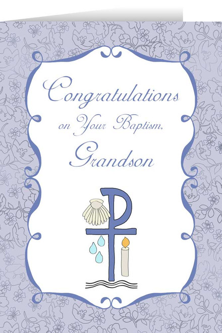 Grandson's Baptism Greeting Card
