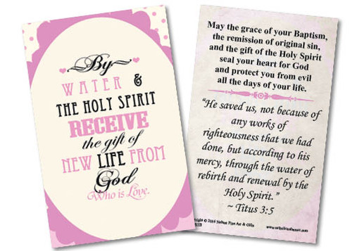 Baptism By Water and the Holy Spirit Pink Holy Card