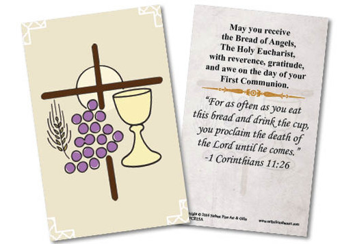 First Communion Symbols Holy Card