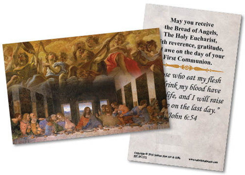 Last Supper by Da Vinci First Communion  Holy Card