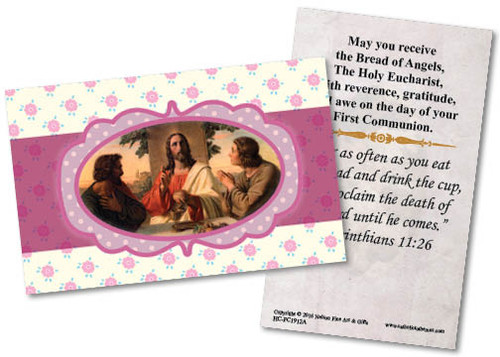 Young Lady's First Communion Holy Card