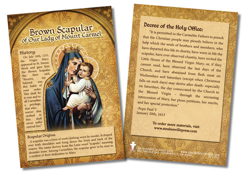 Brown Scapular of Our Lady of Mount Carmel Faith Explained Card
