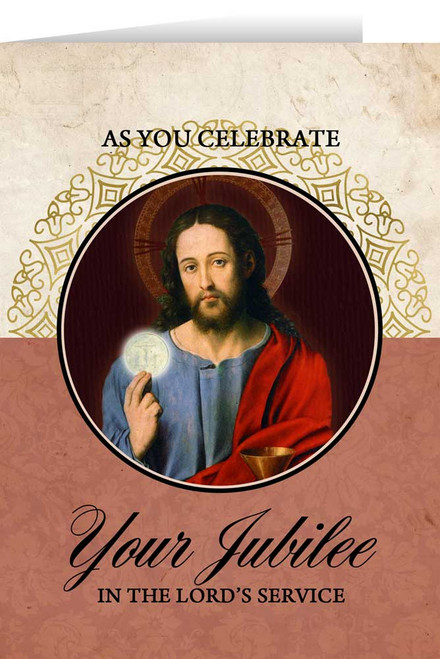 Christ Holding Eucharist Jubilee Greeting Card