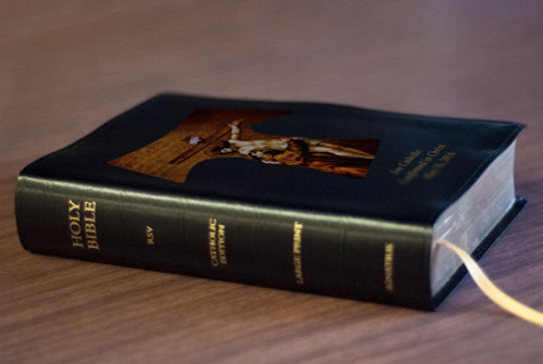 Personalized Catholic Bible with St. Francis Tau Cross Cover - Black Bonded Leather RSVCE