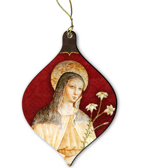 St. Clare (Red) Wood Ornament
