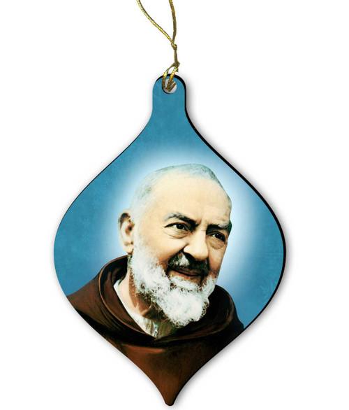 Saint Padre Pio Wood Ornament