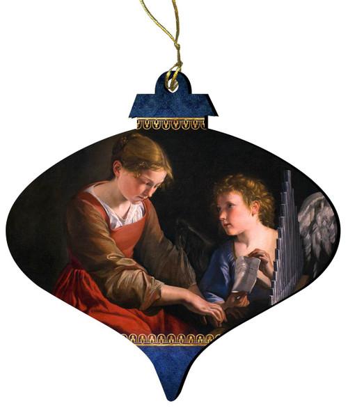 Saint Cecilia Wood Ornament