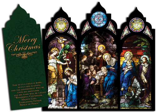 Nativity Stained Glass Tri-fold Triptych Christmas Cards (Set of 12)