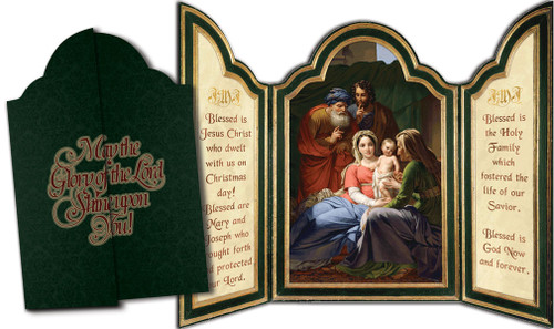Holy Family with Grandparents Joachim and Anne Tri-fold Triptych Christmas Cards (Set of 12)