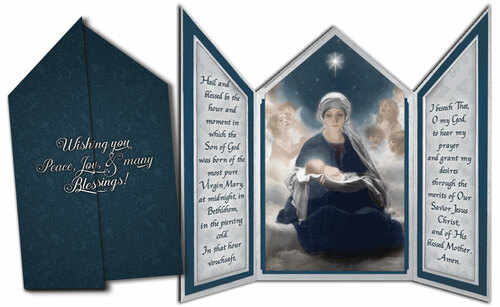 Star of Bethlehem Tri-fold Triptych Christmas Cards with St. Andrew Novena Prayer (Set of 12)