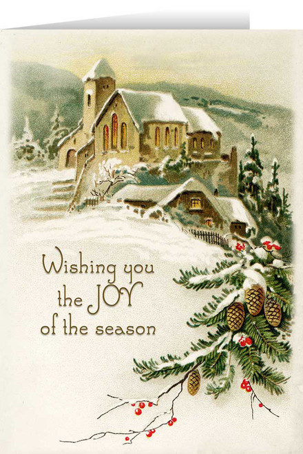 Vintage Church in Snow with Pine and Berries Christmas Cards (box of 25)