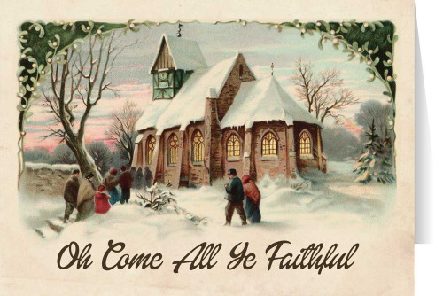 Vintage Church in Snow Christmas Cards (box of 25)