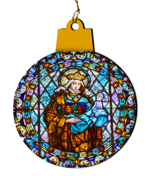 Our Lady Round Stained Glass Wood Ornament