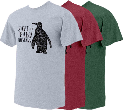 Save the Baby Humans Penguin Vintage Heather Pro-Life T-Shirt