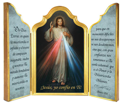 Spanish Divine Mercy Triptych Plaque