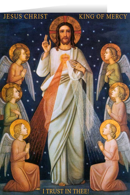 King of Mercy with Prayer Greeting Card