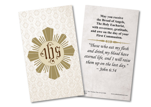 Eucharist First Communion Holy Card