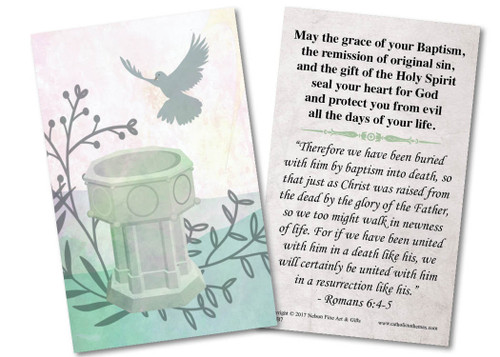 Blessings on Your Baptism Holy Card