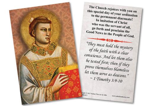St. Stephen Diaconate Ordination Holy Card