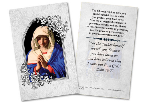 Marian Final Vows Holy Card