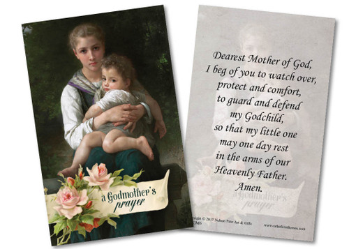 Woman Holding Child Godmother Holy Card
