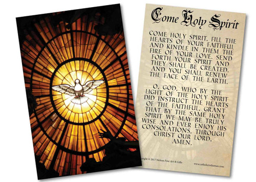 Stained Glass Dove with Come Holy Spirit Prayer Holy Card