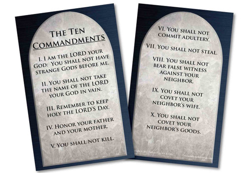 Ten Commandments Holy Card