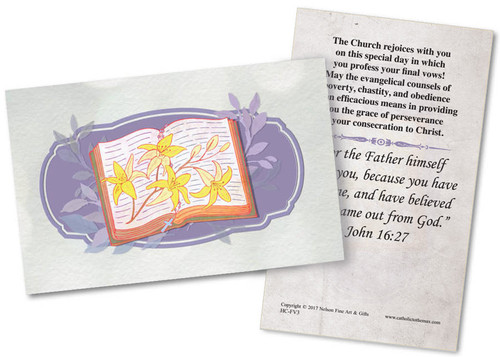 God's Service Final Vows Holy Card