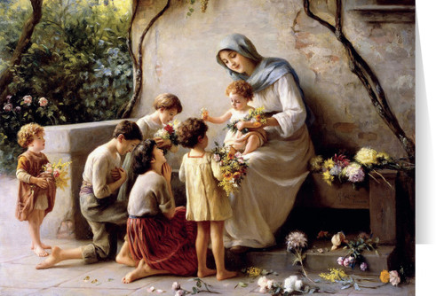 Adoration (Mary and Jesus with Children) by Giuseppe Magni Mother's Day Greeting Card