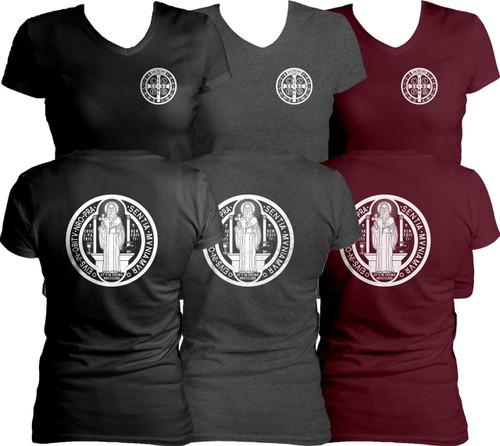 Benedictine Medal Women's Cut V-Neck T-Shirt