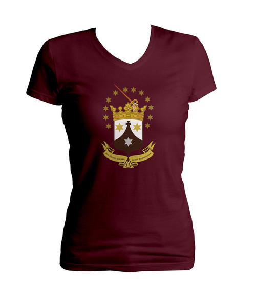Discalced Carmelite Crest Women's Cut V-Neck T-Shirt