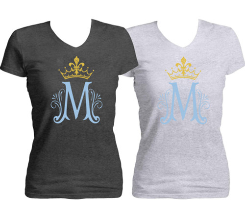 Marian Symbol Women's Cut V-Neck Heather T-Shirt