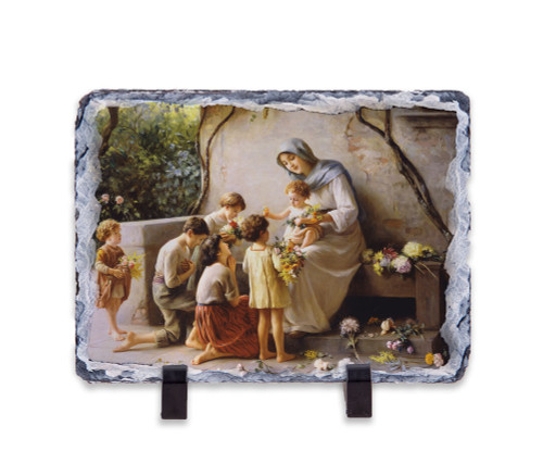 Adoration (Mary and Jesus with Children) by Giuseppe Magni Horizontal Slate Tile