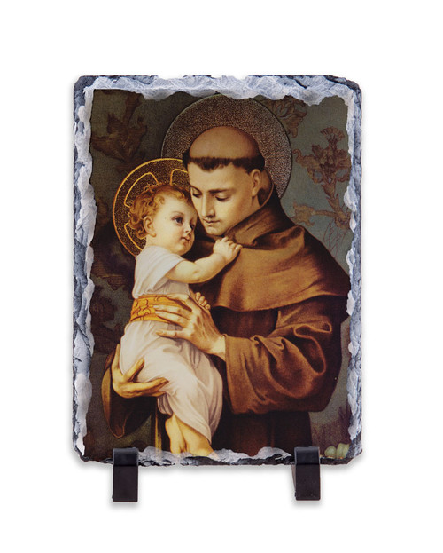 St. Anthony with Jesus Vertical Slate Tile